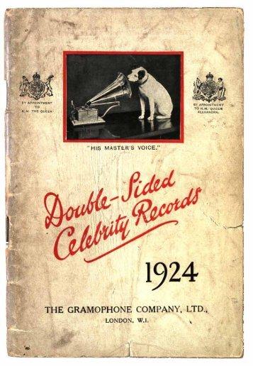 His Master's Voice Celebrity Records 1924