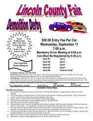 Demolition Derby Rules - Lincoln County Fair