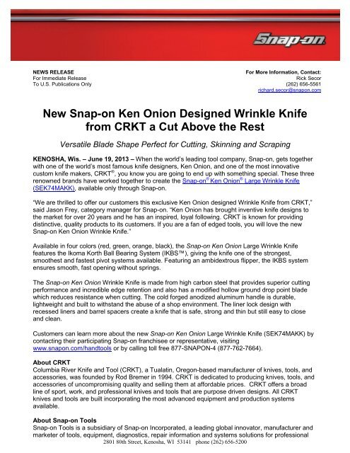 New Snap-on Ken Onion Designed Wrinkle Knife from CRKT is a