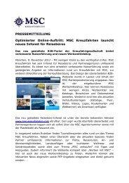 MSC Kreuzfahrten launcht neues Infonet für ... - countervor9.de