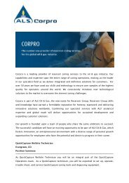 Corpro is a leading provider of reservoir coring ... - ALS Oil & Gas