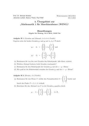 """4. ¨Ubungsblatt zur """" Mathematik 1 für Maschinenbauer (WING ..."""