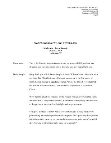 NWX-WOODROW WILSON CENTER (US) Moderator: Drew Sample ...