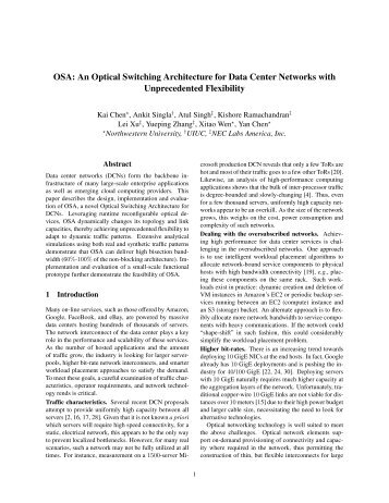 OSA: An Optical Switching Architecture for Data Center ... - Usenix