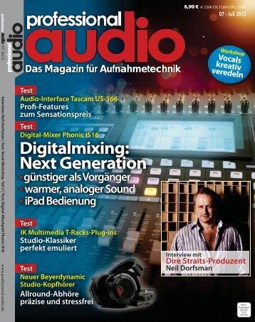 Professional Audio - Magazin für Aufnahmetechnik - Juli 2013