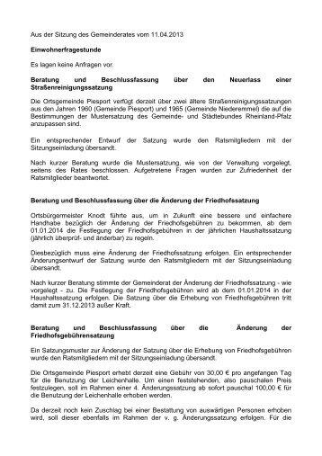 Sitzungsprotokoll vom 11.04.2013 - Piesport