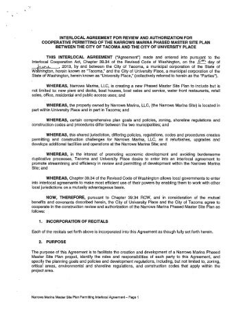 "THIS INTERLOCAL AGREEMENT (""Agreement ... - City of Tacoma"