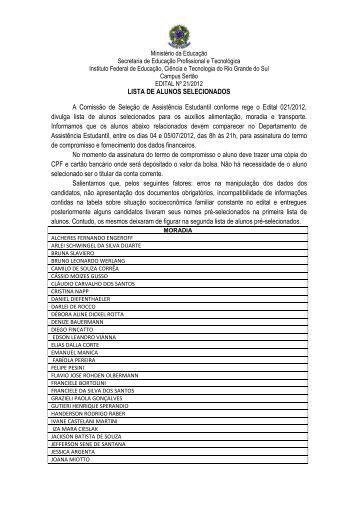 Lista dos alunos selecionados - IFRS