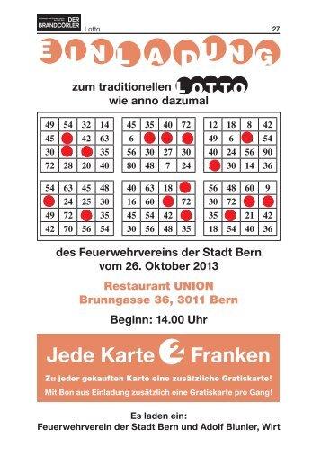 zum traditionellen Lotto des Feuerwehrvereins der Stadt Bern