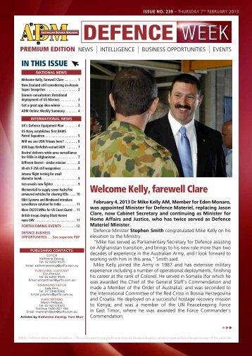 Welcome Kelly, farewell Clare - Australian Defence Magazine