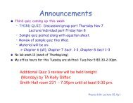 Additional Quiz 3 review will be held tonight (Monday) by TA Kelly ...