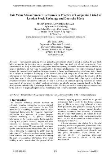 Fair Value Measurement Disclosures in Practice of ... - Wseas