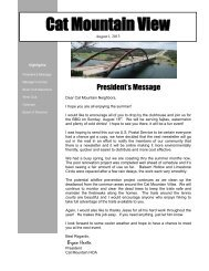 Newsletter dated August 1, 2013 - Cat Mountain Villas Homeowners ...