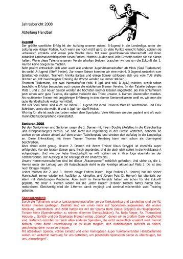 Jahresbericht 2008 Abteilung Handball - SG-Findorff eV