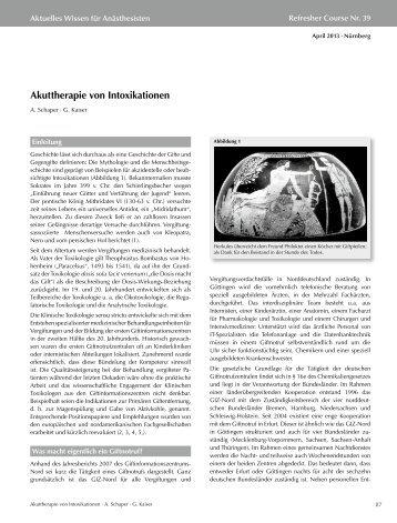 Akuttherapie von Intoxikationen