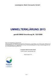 UMWELTERKLÄRUNG 2013 - voestalpine