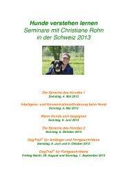 Seminare mit Christiane Rohn in der Schweiz 2013 - Tiere verstehen