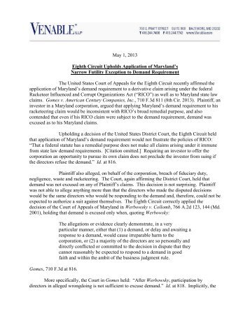 CLIENT MEMO: Eighth Circuit Upholds Application of ... - Venable LLP