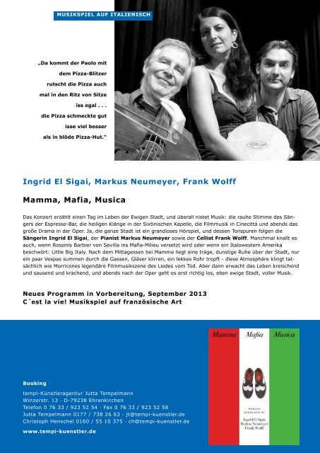 Mamma, Mafia, Musica - Künstleragentur Jutta Tempelmann