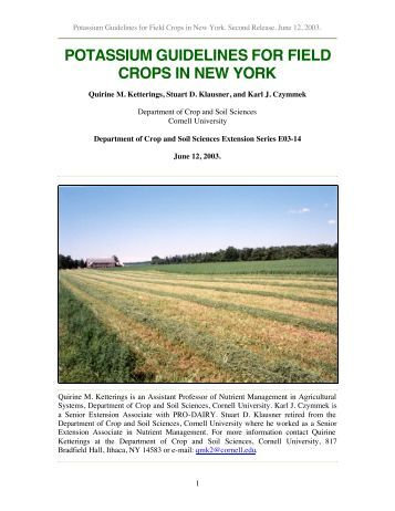 potassium guidelines for field crops in new york - Purdue Agriculture