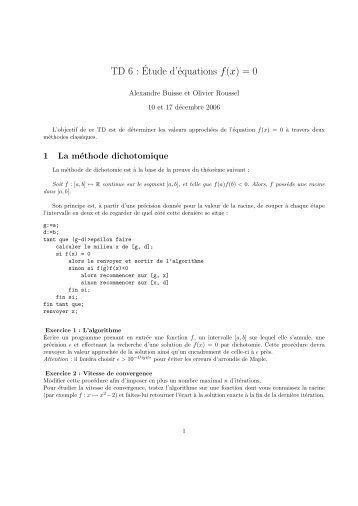TD 6 :´Etude d'équations f(x)=0