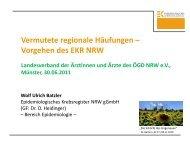 Vermutete regionale Häufungen - Krebsregister NRW