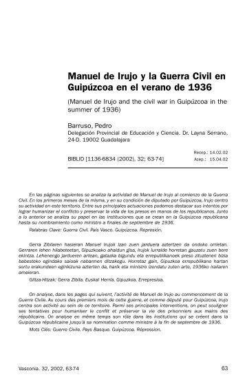 Manuel de Irujo y la Guerra Civil en Guipúzcoa en el verano de 1936
