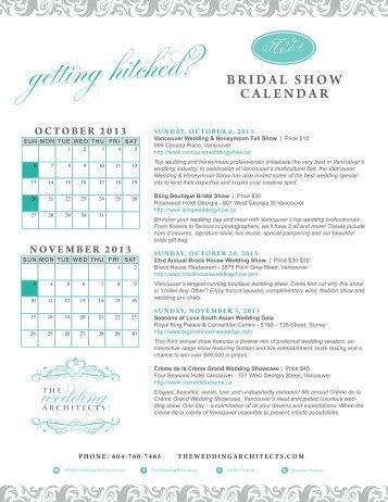 Bridal Show Calendar The Wedding Architects