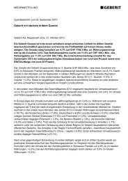 Geberit mit starkem drittem Quartal - Geberit International AG