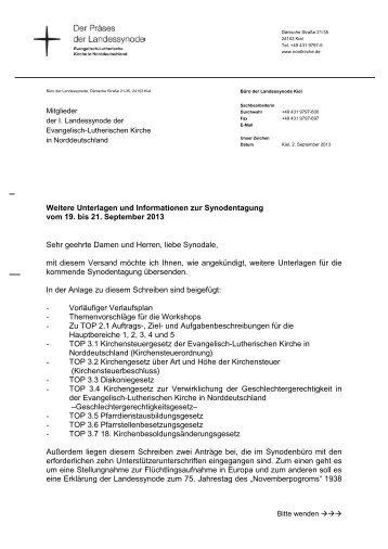 Synode 201309 Anschreiben 2. Versand - Nordkirche