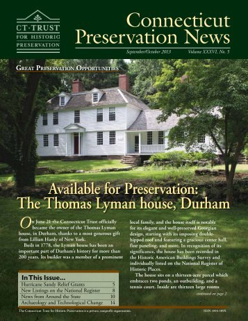 September/October Newsletter - Connecticut Trust For Historic ...