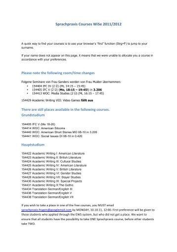 Sprachpraxis Courses WiSe 2011/2012 - Iaawiki - TU Dortmund