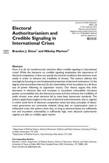 Electoral Authoritarianism and Credible Signaling ... - Nikolay Marinov
