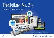 Anzeigenpreisliste Nr. 23 - Märkische Allgemeine