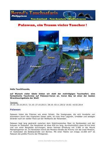 Palawan, ein Traum vieler Taucher ! - Tauchen Philippinen