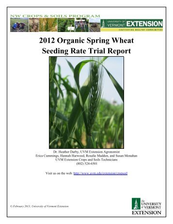 2012 Organic Spring Wheat Seeding Rate Trial - Northern Grain ...