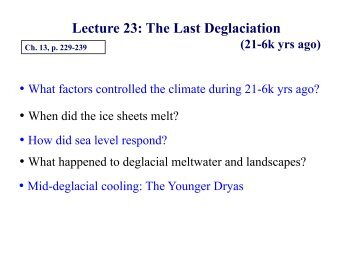 Lecture 23: The Last Deglaciation