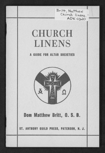 CHURCH LINENS - Digital Repository Services