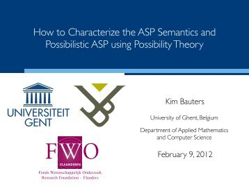 How to Characterize the ASP Semantics and Possibilistic ASP using ...