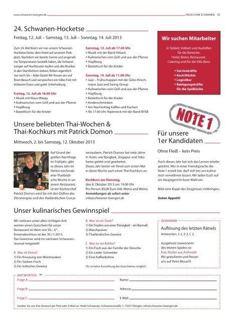 Schwanen-Journal Juli 2013 - Hotel - Restaurant Schwanen