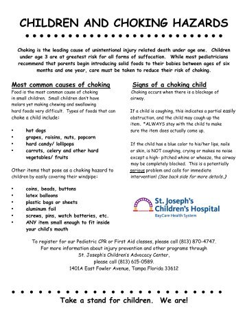 Children And Choking Hazards - St.Joseph's Hospital