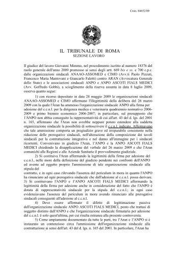 IL TRIBUNALE DI ROMA - ANPO
