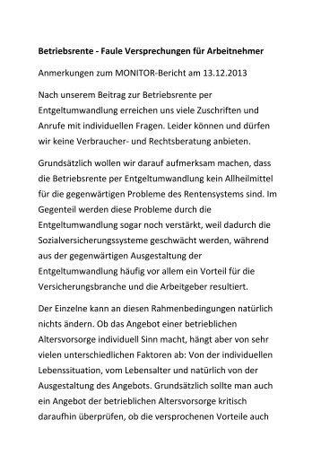 Anmerkungen zum MONITOR-Bericht am 13.12.2013 - WDR.de