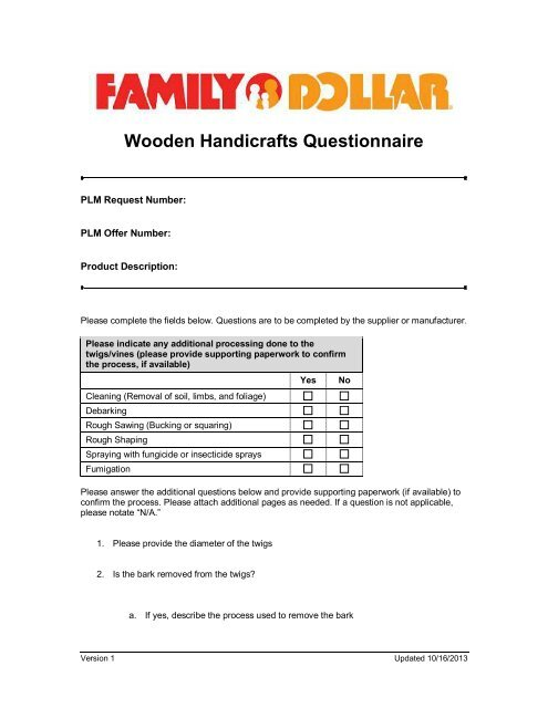 Wooden Handicrafts Questionnaire - Family Dollar Corporate