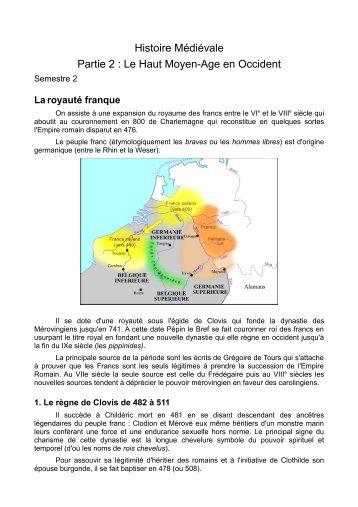 Histoire Médiévale Partie 2 : Le Haut Moyen-Age en ... - CafeCours