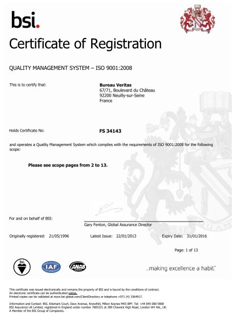 Certificate Of Registration Bureau Veritas