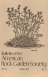 Bulletin - Spring 1978 - North American Rock Garden Society