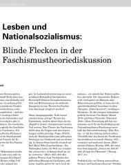 Lesben und Nationalsozialismus: Blinde Flecken ... - Aus dem Leben