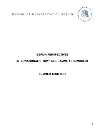 BERLIN PERSPECTIVES INTERNATIONAL STUDY PROGRAMME ...