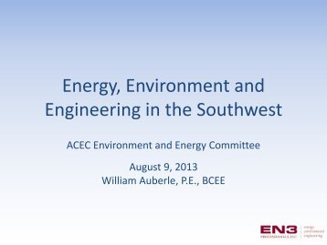 Energy, Environment and Engineering in the Southwest